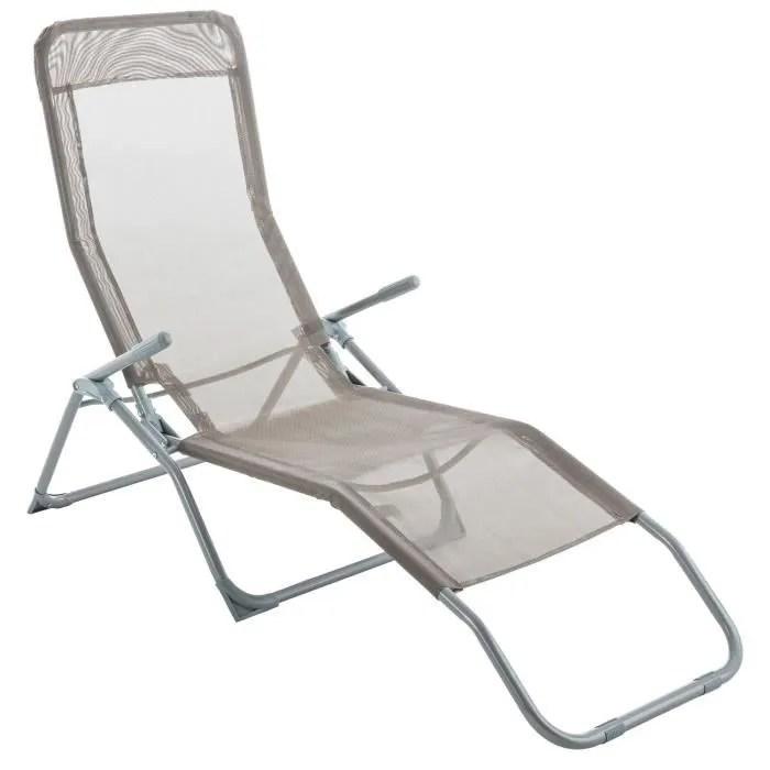 Transat  Chaise longue Siesta  Taupe  Achat  Vente chaise longue Transat  Chaise longue