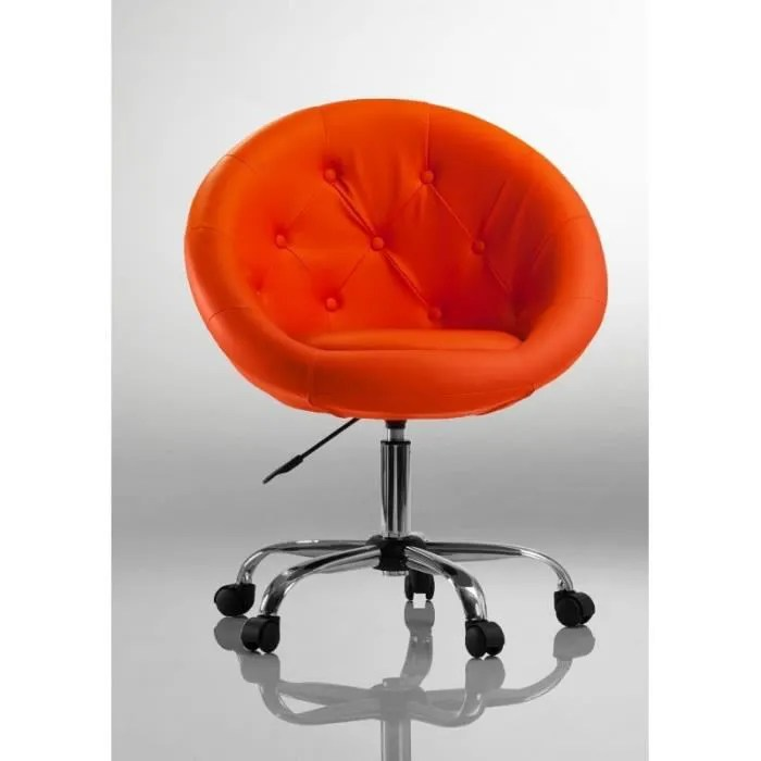 fauteuil a roulette cuir pu tabouret chaise de bureau orange bur09035