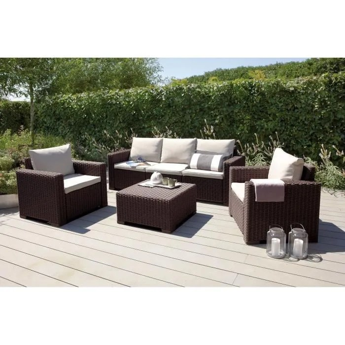 ALLIBERT Salon de jardin CALIFORNIA 5 places imitation rsine tresse  Marron  Achat  Vente