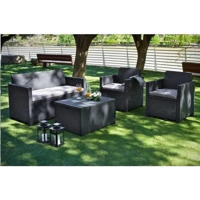 ALLIBERT Salon de jardin MERANO 4 places  avec tablecoffre  imitation rsine tresse  Gris