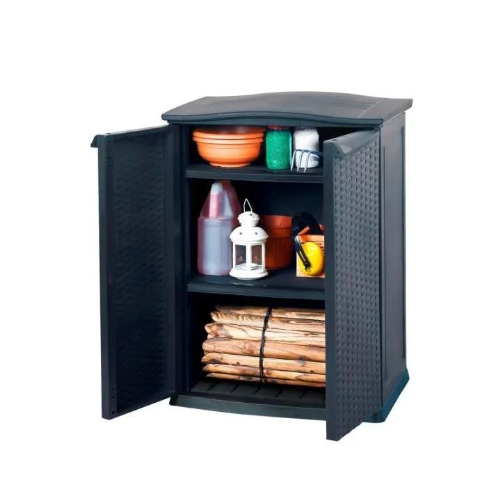 coffre d exterieur armoire basse de rangement resine anthracite