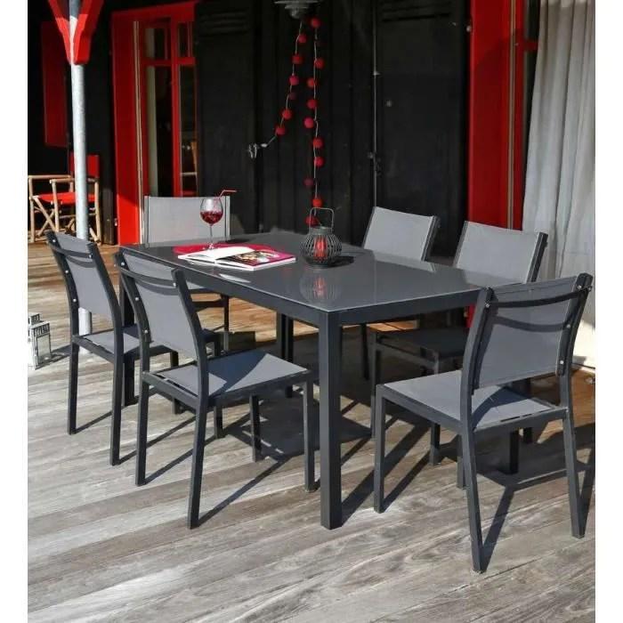 Ensemble table de jardin 180  6 chaises aluminium gris  Achat  Vente salon de jardin Table
