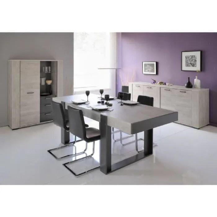 loft ensemble table a manger 2 buffets decor bois et gris