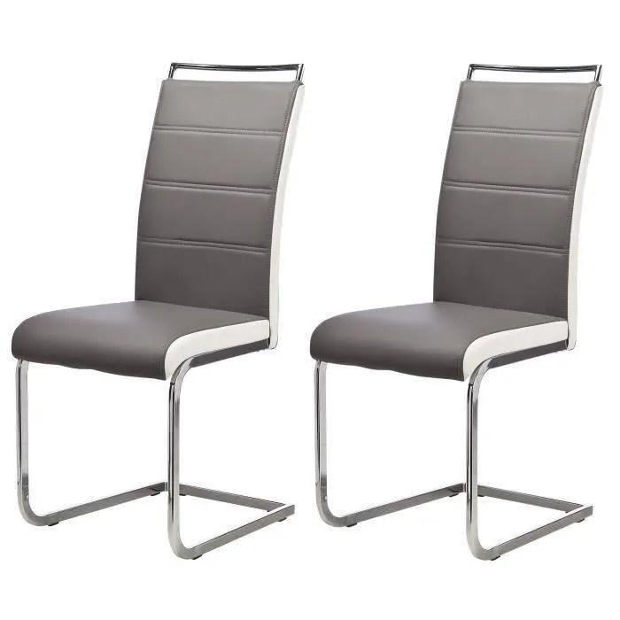 DYLAN Lot de 8 chaises salon gris blanc  Achat  Vente