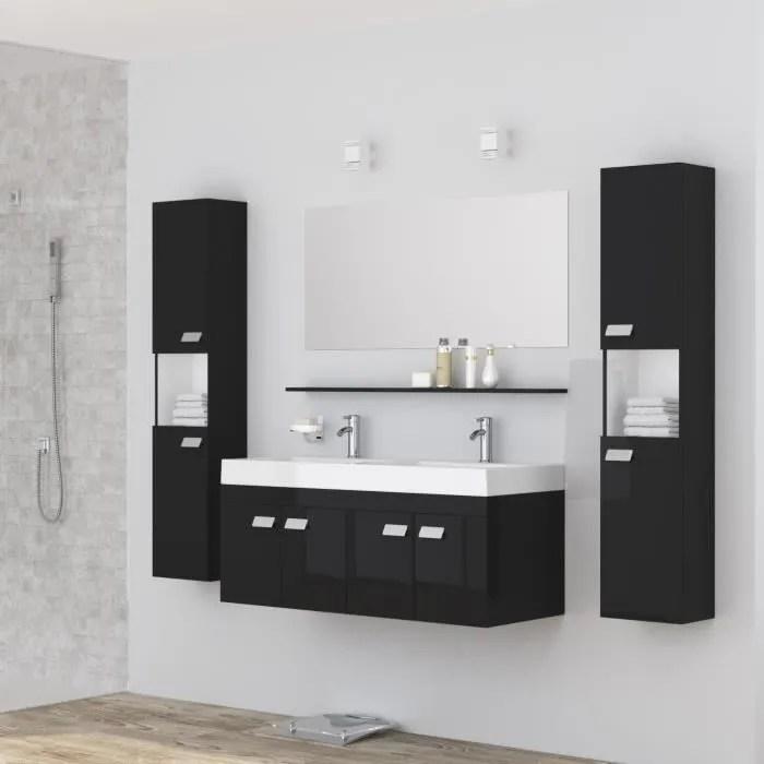 Maison Meubles Mobilier Alpos Salle De Bain Complete Double Vasque Cm F Mjnoirb L