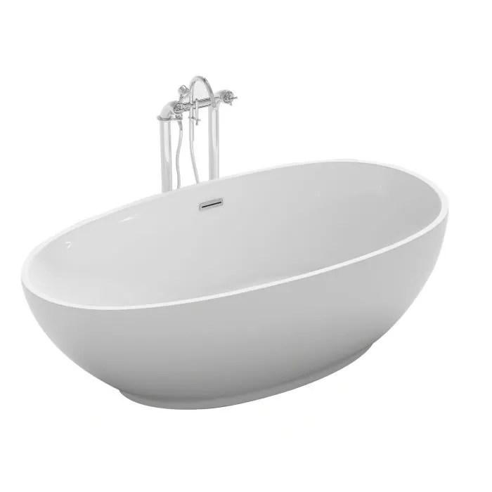 Baignoire Ilot Ovale 180x90 Cm En Acrylique Blanc Achat