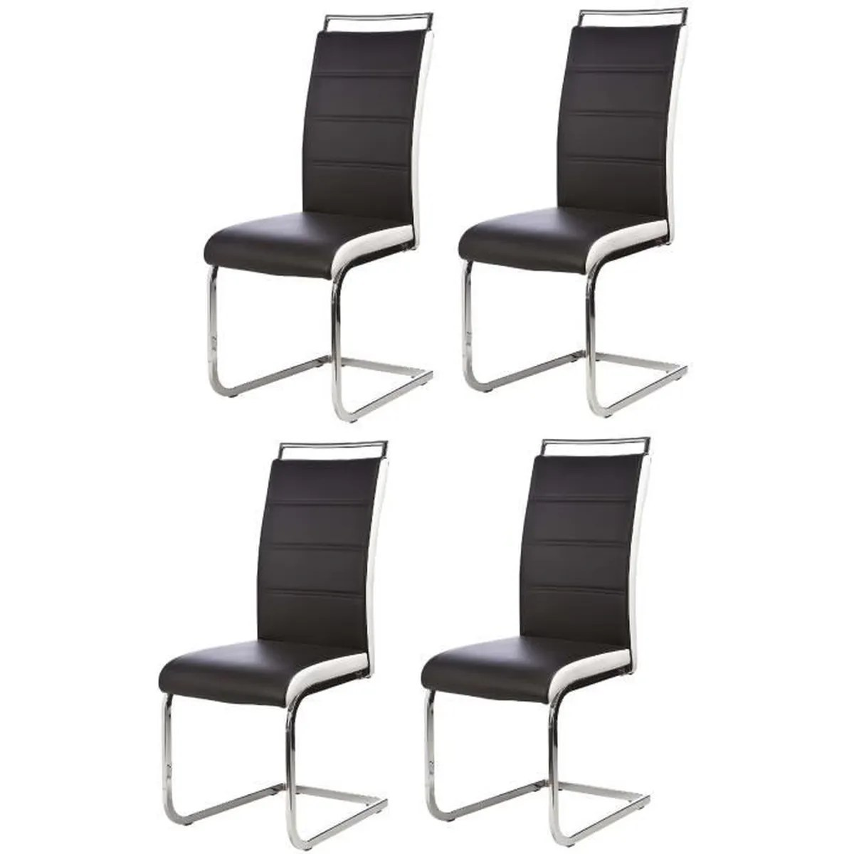 DYLAN Lot de 4 chaises salon noir blanc  Achat  Vente