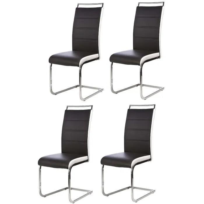 DYLAN Lot de 4 chaises salon noir blanc  Achat  Vente chaise  Cdiscount
