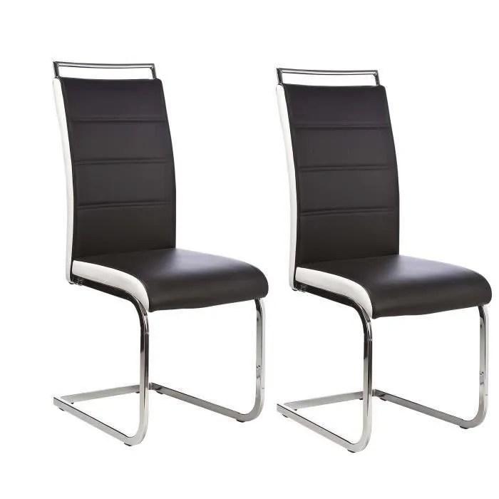 DYLAN Lot de 6 chaises salon noir blanc  Achat  Vente chaise  Cdiscount