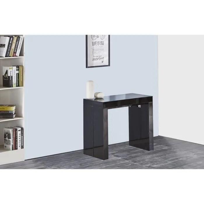 zack table console extensible 10 personnes style contemporain 45 250x90 cm laque noir