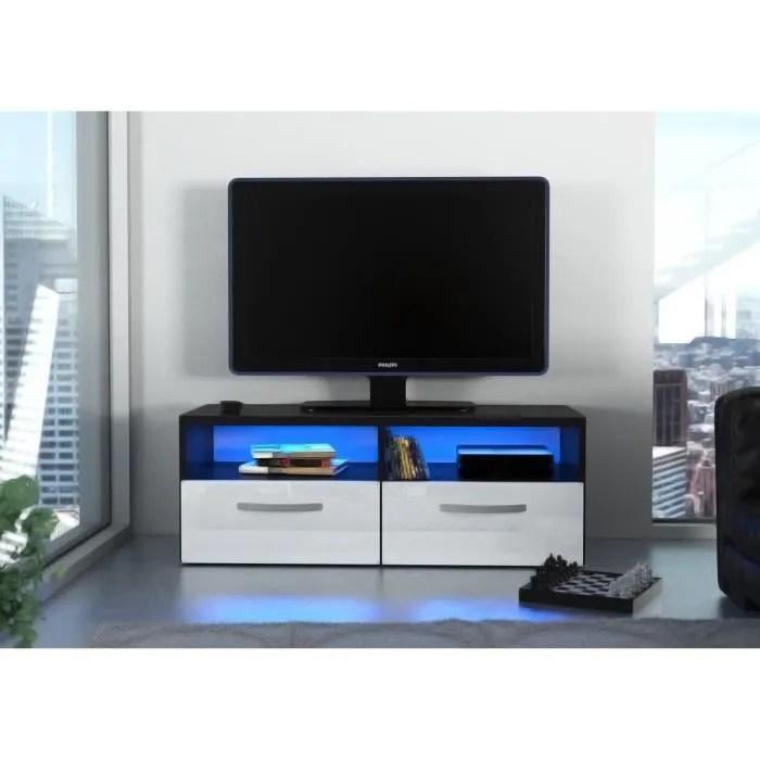 kosmo 2 meuble tv avec led contemporain noir et blanc brillant l 97 cm