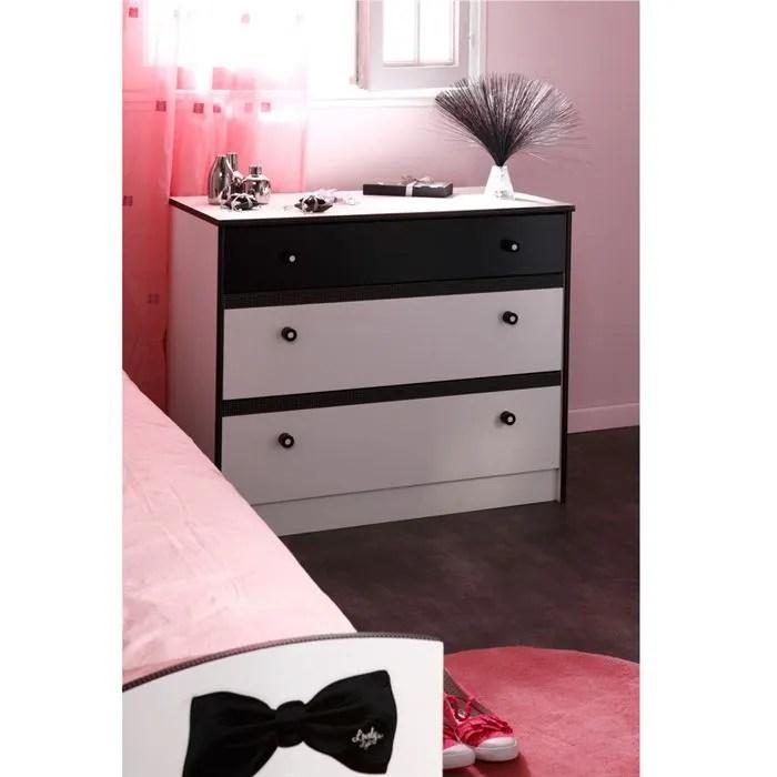 PRETTY Commode 3 tiroirs BlancNoir  Achat  Vente commode de chambre PRETTY Commode 3 tiroirs