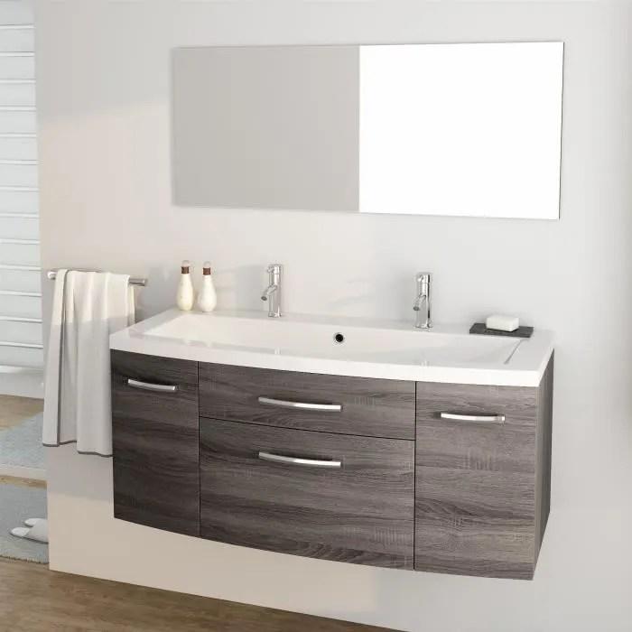 pacome ensemble meubles de salle de bain simple vasque miroir l 120 cm gris effet bois