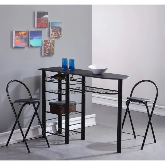 Table de cuisine noir table haute cuisine noir meubles de for Chaise first conforama