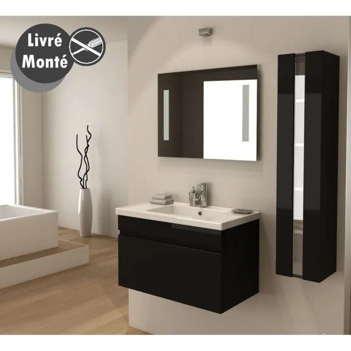 ALBAN Salle De Bain Complte Simple Vasque 80 Cm Noir