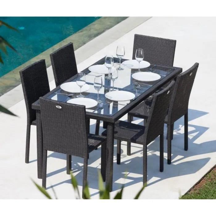 arcachon ensemble table de jardin 6 places acier et resine tressee noir