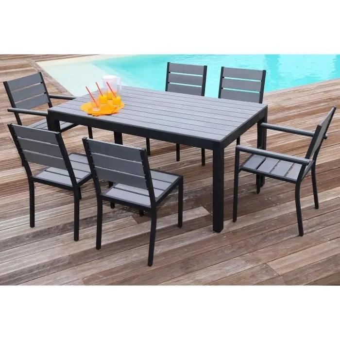 FLORIDE Salon de jardin  Table L 160 cm  2 fauteuils  4 chaises en aluminium et polywood