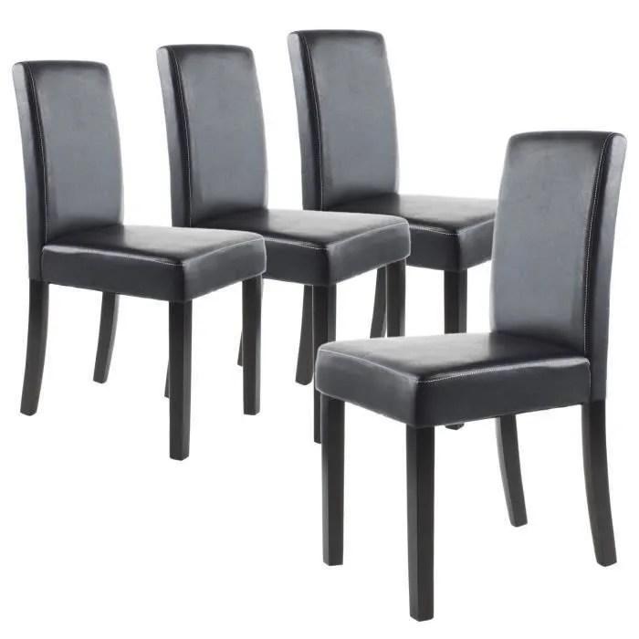 clara lot de 4 chaises de salle a manger noires