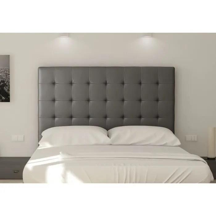 sogno tete de lit capitonnee simili gris l 160 cm
