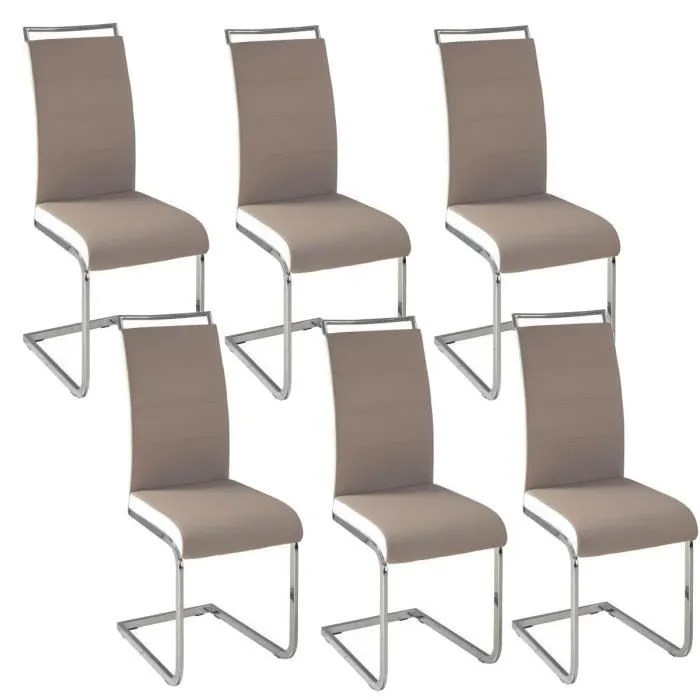 dylan lot de 6 chaises salon taupe blanc