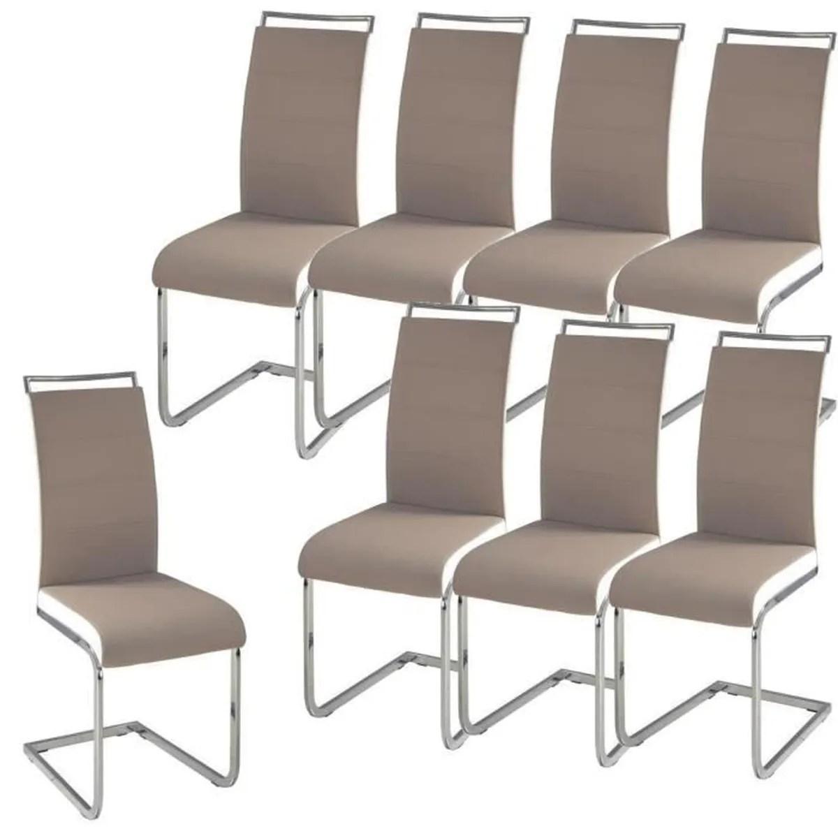 DYLAN Lot de 8 chaises salon taupe blanc  Achat  Vente