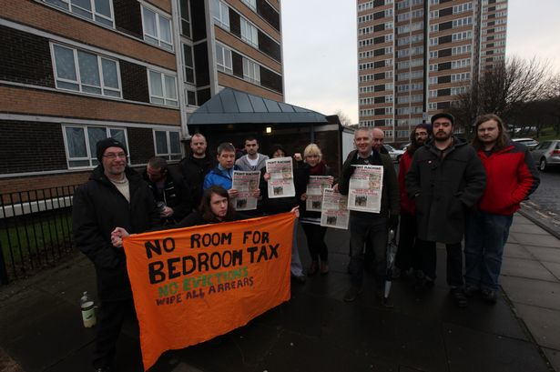 Bedroom Tax protest at Todds Nook flats off the Westgate Road