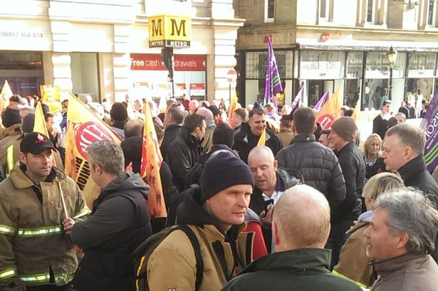 Fire Brigades Union Rally at Monument in Newcastle