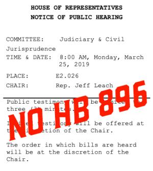 No HB 896 Hearing Scheduled