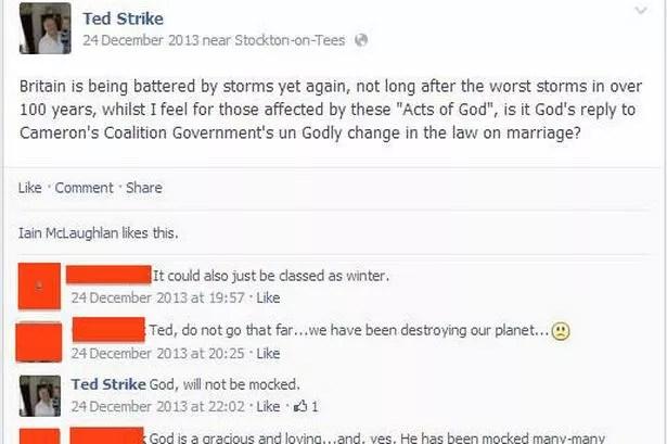 Facebook post by Ted Strike