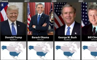 1789-2019历届美国总统及在任期间疆域【youtube】