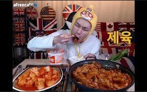 [韩国吃播][花猪]辣炒肉+虾汤