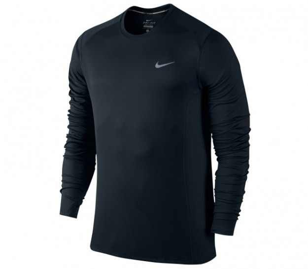 Nike - Dri-Fit Miler Longsleeve T-shirt de running pour hommes (noir/silber) - S