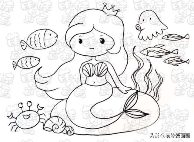 童話故事簡筆畫 神秘海底世界裡的美人魚公主。塗上漂亮的顏色吧 - 每日頭條