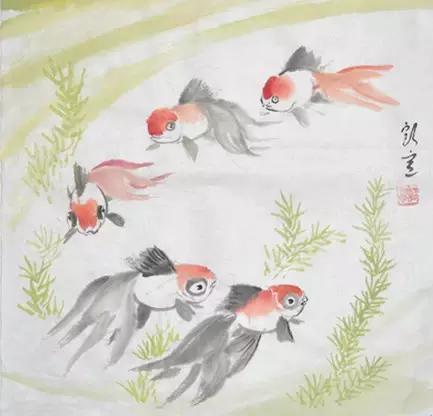 國畫 幾種寫意金魚的畫法 - 每日頭條