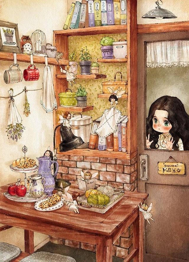 森林女孩插畫10:美麗女孩和森林小木屋。你希望有一個怎樣的家呢 - 每日頭條