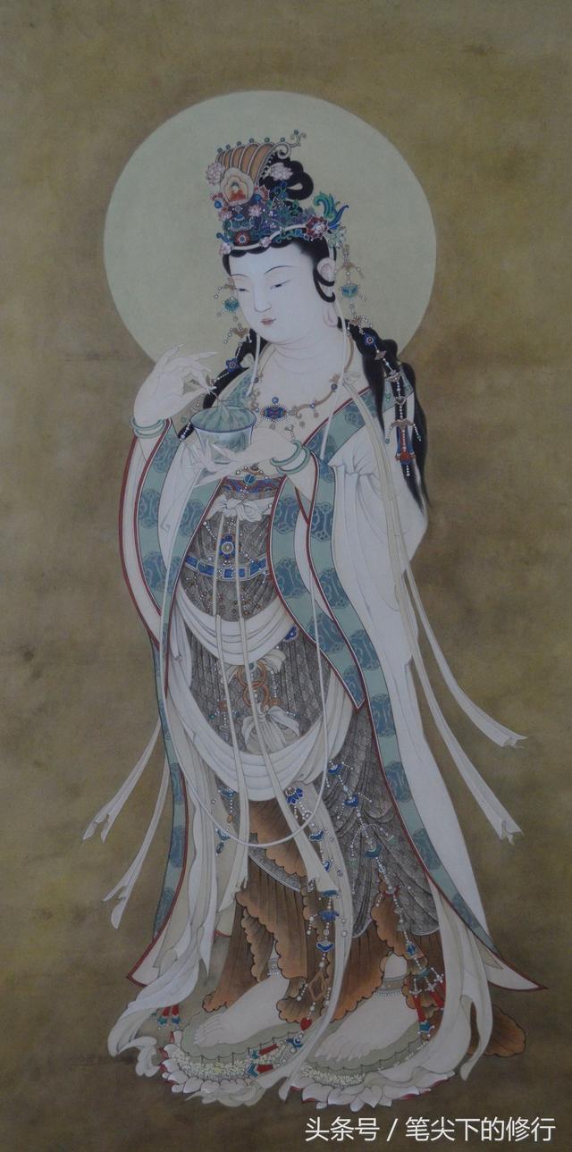 傳統工筆觀音佛畫--散發柔和靜謐慈悲之光 - 每日頭條