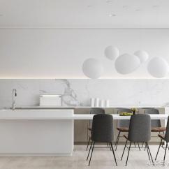 Grey Kitchen Backsplash Ken Onion Knives 现代白色厨房 每日头条 这个斯堪的纳维亚设计的白色厨房设有模拟砖的外观的白色瓦片后挡板 带有白色旋钮抽屉拉的浅灰色橱柜面板 屠夫块台面与简单的木制长椅配对的桌子相匹配