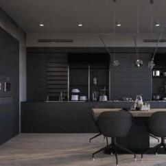White Kitchen Bench Undermount Sink 澳都新创意36令人诱人的黑色厨房橱柜 让你为你的家居创造一帘幽梦 这个黑色的美丽与木质的接近 在一个有斑点的地板 白色的墙壁和中央的长凳上融合了白色 圆形黑色灯悬停在全黑色部分上 一个单色的连接在一起