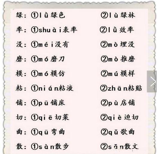 期末福利:小學語文最易考90個多音字!都是基礎,都是必考點! - 每日頭條