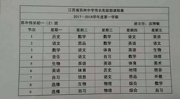 曬課表 蘇州初中課程各有千秋:新實每天跑1200m。偉長一天9節課。振華5+4…… - 每日頭條