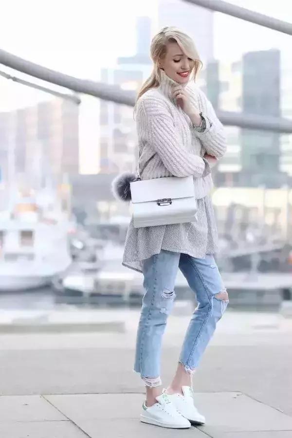 毛衣+襯衫就夠了?你還得在長襪和短靴的搭配上做點文章! - 每日頭條