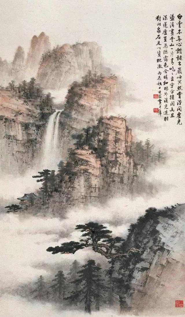 瀑布飛流直下,中國傳統山水的磅礴大氣 - 每日頭條