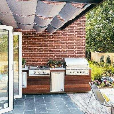 outdoors kitchen undermount porcelain sink 国外10个让人喜欢的创意露天户外厨房 每日头条