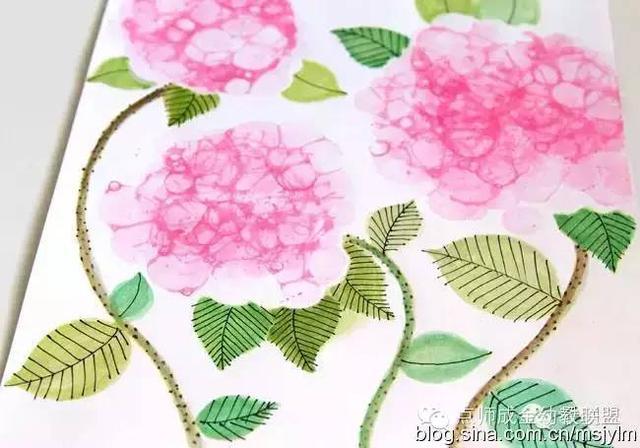 教案也瘋狂幼兒美術課教程:吹出來的繡球花 - 每日頭條