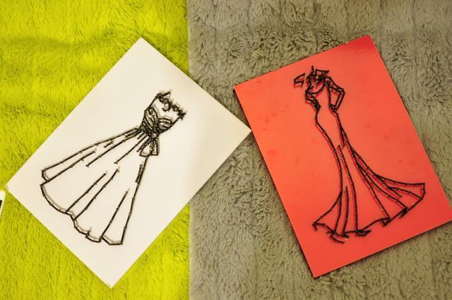 手工婚紗系列,簡筆釘子畫作品欣賞 - 每日頭條