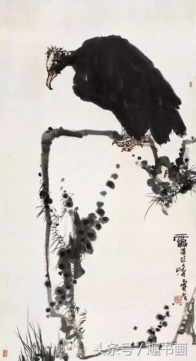 國畫大師潘天壽擅於造險與破險。看看他畫的13幅鷹的構圖 - 每日頭條