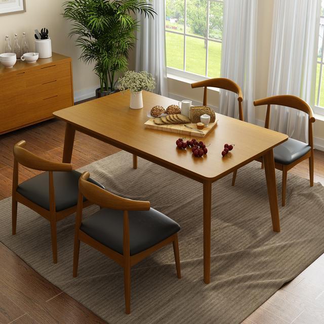chairs for kitchen table suite deals 北歐實木餐桌 小戶型餐桌首選 每日頭條 林通實木餐桌椅組合長方形餐桌餐椅套裝北歐宜家小戶型個性簡約餐廳家具原木色餐