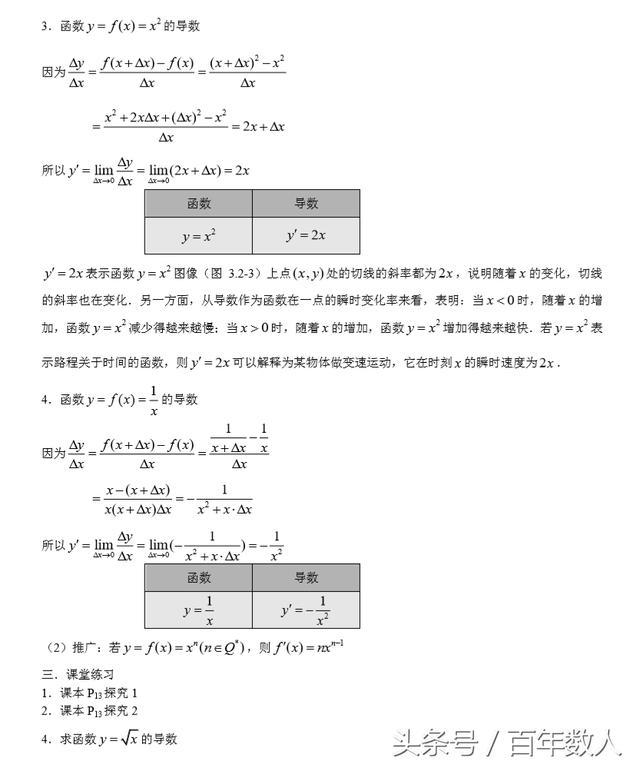 高中數學選修2-2:基本初等函數的導數公式及導數的運算法則 - 每日頭條