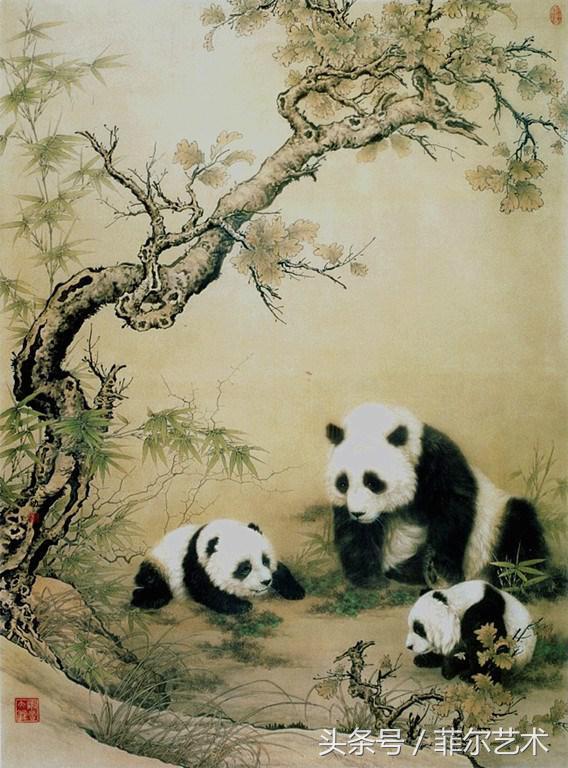 中國畫家王申勇工筆熊貓畫作品欣賞 - 每日頭條