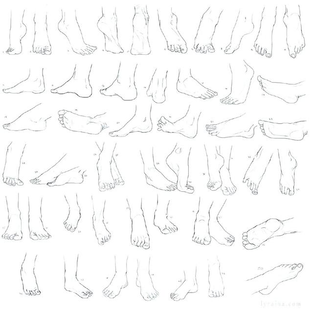腳部的畫法參考,腳部的多角度畫法參考 - 每日頭條
